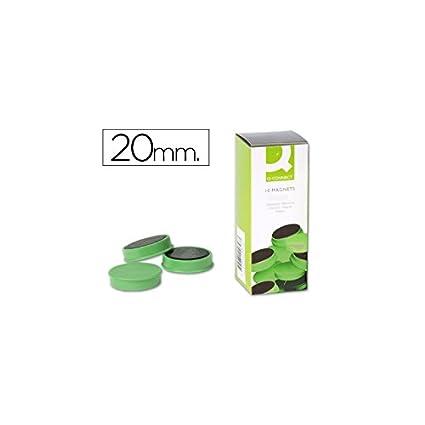 Q-Connect Imanes Para Sujeción Ideal Para Pizarras Magnéticas 20 Mm Verde Caja De 10 Imanes