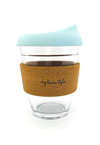 Reusable Glass Coffee Cup/Travel Mug with Lid/Dishwasher and Microwave Safe, Eco Friendly Cork sleeve and extra Silicone Sleeve included