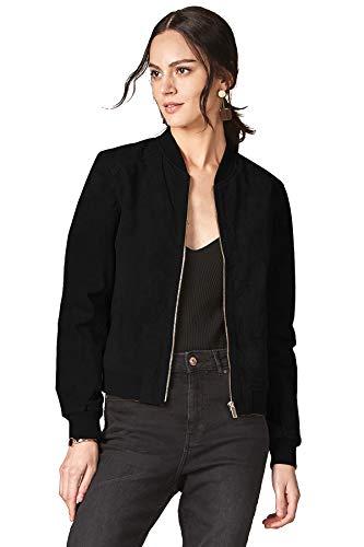 (Escalier Women's Leather Bomber Jacket Zip up Suede Quilted Biker Coat Black L)