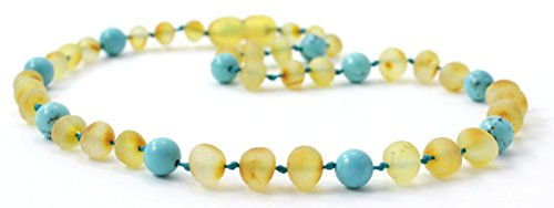 Raw Amber Teething Necklace Made with Turquoise Beads - Size 11 inches (28 cm) - Unpolished Honey Baltic Amber Beads - BoutiqueAmber (11 inches, Raw Honey/Turquoise)