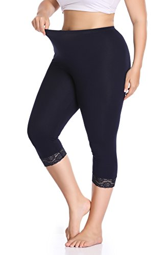 Raddzo Women's Plus Size Cotton Capri Cropped Leggings Lace Trim Soft Tights Pants, Navy Blue, XXL