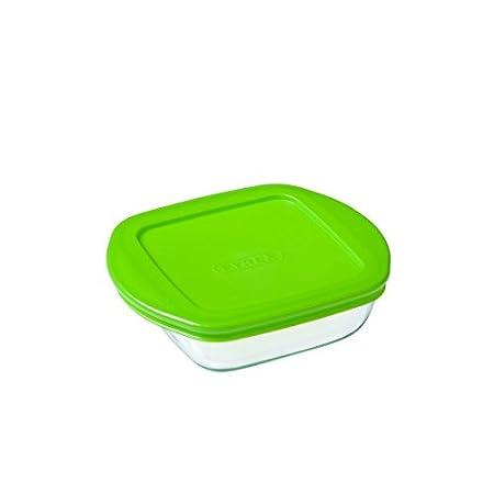 Pyrex - Recipiente quadrato per conservare gli alimenti, con coperchio, in vetro, 20 x 17 x 5,5 cm, 0,3L 36880
