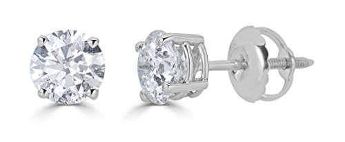 (14k White Gold Round-Cut Diamond Stud Earrings (1/3cttw, J-K Color, I2-I3 Clarity))