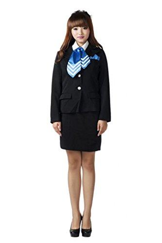 Mtxc Women's Flight Attendant Girl Culture Cosplay Airline stewardess Uniform 10th Size Small Black ()