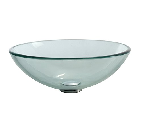 Kraus GV-101-CH Clear Glass Vessel Bathroom Sink with PU-MR Chrome
