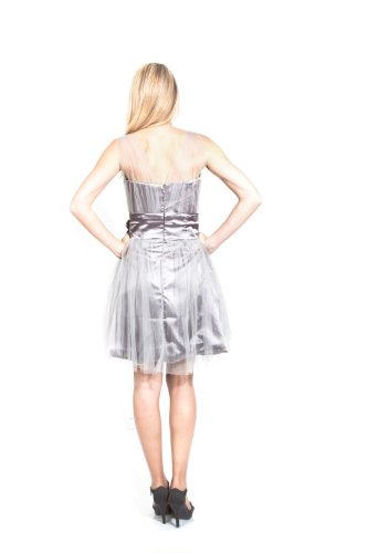 Chiffonkleid AvaMia Chiffon Cocktailkleid Abendkleid Festliches Grau Kleid knielang fxI6f
