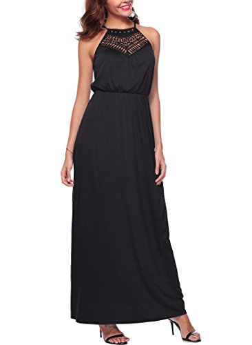 KKSSQUEEN Womens Sexy Dresses Sleeveless Halter Neck Hollow Out Casual Party Cocktail Long Maxi Dress