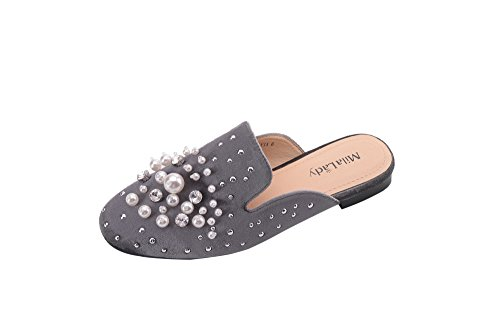 Flat Sandals Mules Mila Shoes Slip Heeled Casual Lady Womens Loafer On Fashion Grey Slides Low xRrx8w7v