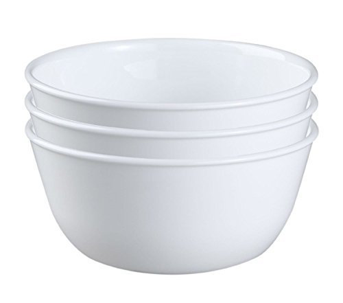 Corelle Livingware 28-Ounce Super Soup/Cereal Bowl, Winter Frost White (3 Bowls)