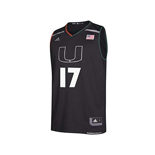 adidas Men's NCAA Miami Hurricanes Replica Basketball Jersey, Black 17,M - US