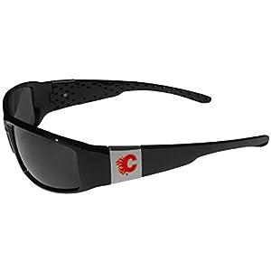 NHL Calgary Flames Chrome Wrap Sunglasses, Black, Adult Size