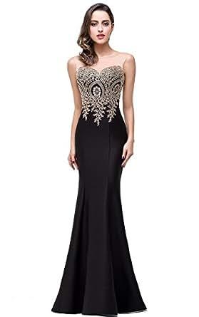 Babyonline Mermaid Evening Dress for Women Formal Lace Appliques ...