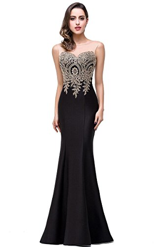 (Women Fashion Long Mermaid Black Evening Dresses For Wedding Party, 12, Black )