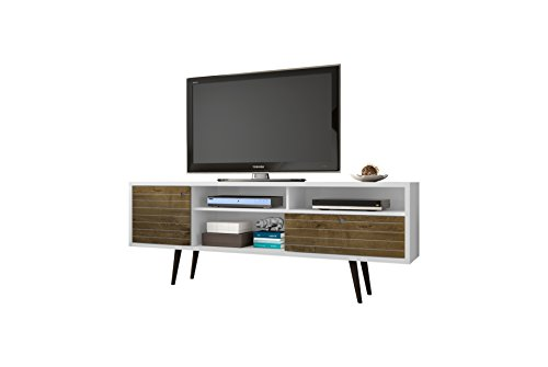 Manhattan Wood Tv Stand - Manhattan Comfort Liberty Collection Mid Century Modern TV Stand With Three Shelves, One Cabinet and One Drawer With Splayed Legs, White/Wood