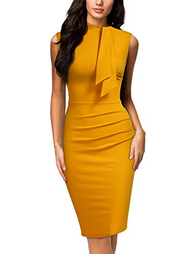 Miusol Women's Retro 1950s Style Half Collar Ruffle Cocktail Pencil Dress (X-Large, Yellow)