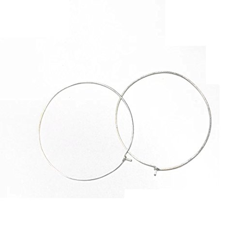 PINJEAS Silver Hoops Earrings handmade Big Wire Gold Filled sterling silver Simple fashion basketball Large Thin For Women mother's day gift