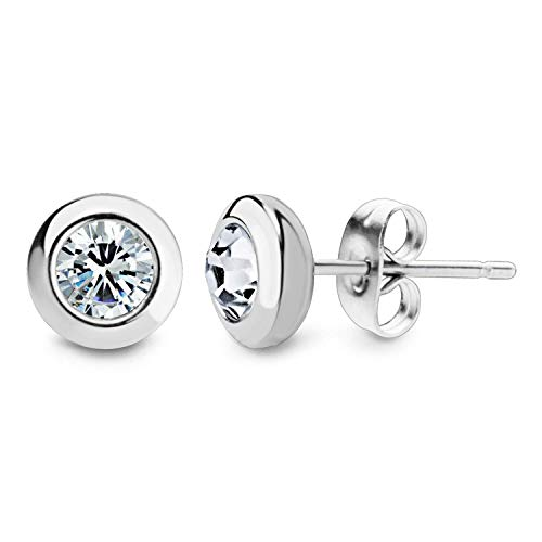 555Jewelry Womens Stainless Steel Round Solitaire Bezel Sparkly Brilliant Cute Assorted Multiple Colors Jewelry Fashion Accessory Stud Earring Set Pair, Silver & White Cubic - Solitaire Bezel Stud
