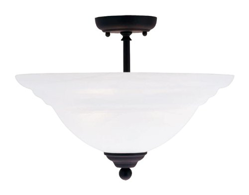 Livex Lighting 4258-04 North Port 3 Light Black Semi Flush Mount with White Alabaster Glass - Black Finish White Alabaster Glass
