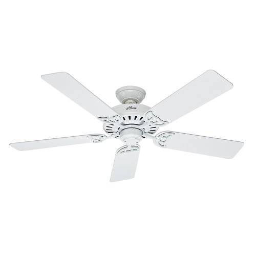 Hunter 53039 Summer Breeze 52-Inch Ceiling Fan with Five Blades, White ()