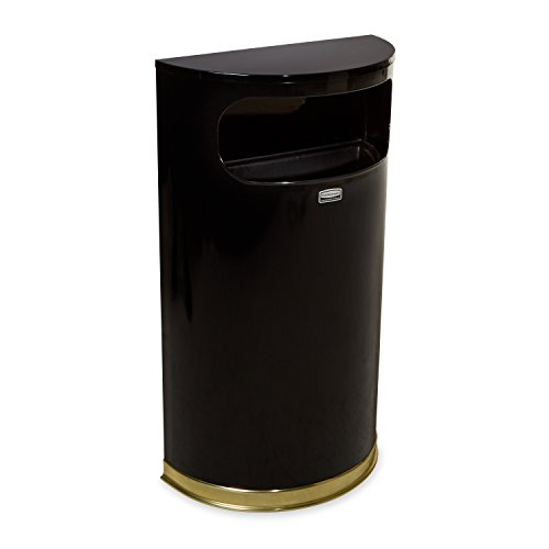 Rubbermaid Commercial European Half-Round Trash Can, 9-Gallon, Black/Brass