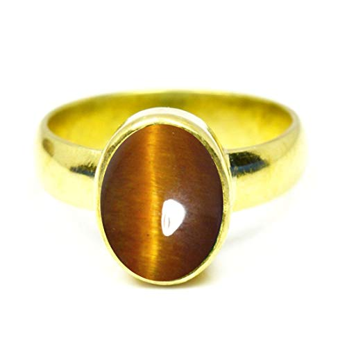 Oval Tigers Eye Cabochon Ring - 55Carat Brand Genuine Tiger's Eye Gold Plated Ring 9 Carat Oval Gemstone Handcrafted Jewellery Size 4-13