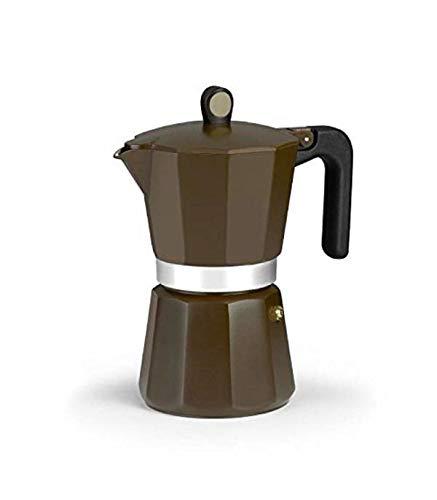 Monix New Cream – Cafetera Italiana de Aluminio, Capacidad 6 Tazas, Apta para Todo Tipo de cocinas incluida inducción