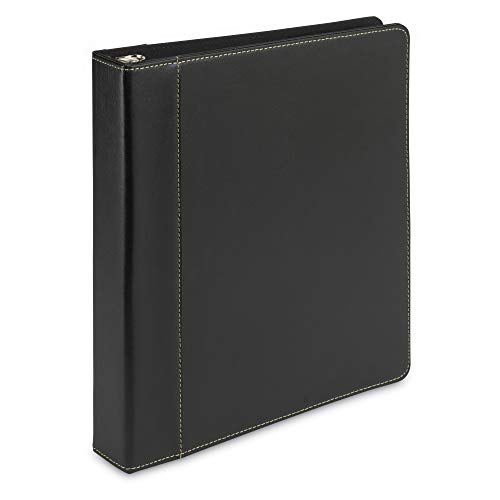 (Samsill Contrast Stitch Leather 3 Ring Binder/Portfolio/Organizer/Planner, 3 Ring Binder 1 Inch, Holds 200 Sheets (8.5 x 11), Black)