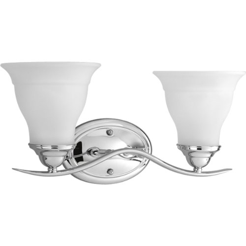 Progress Lighting P3191-15 2-Light Bath Bracket, Polished Chrome - Fixture Two Light Bath Bracket