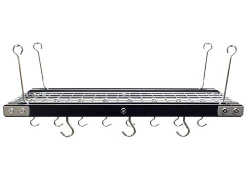 Range Kleen CW6007R 26 x 13 Inch Rectangle Walnut and Stainless Steel Pot Rack