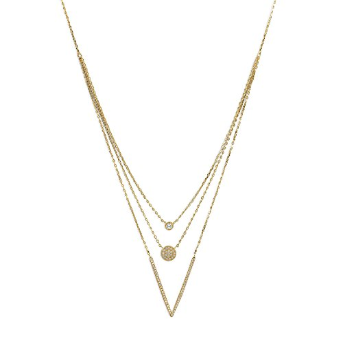 Bunnyberry 14 Karat Gold Plated Triple Strand Necklace with CZs