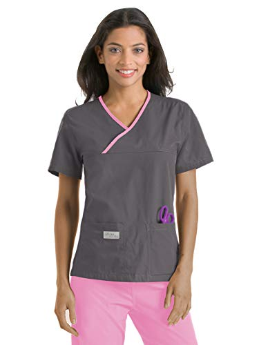 Urbane Essentials 9534 Double Pocket Crossover Top Steel Gray/Pearl Pink 2XL