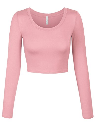 - KOGMO Womens Long Sleeve Basic Crop Top Round Neck with Stretch -L-LIGHTPINK