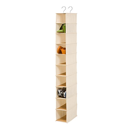 Honey-Can-Do SFT-01001 Hanging Shoe Organizer, Bamboo/Canvas, 10-Shelf (Honey Can Do Shoe Organizer compare prices)