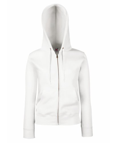 Fruit Of The Loom Lady-Fit para mujer con capucha/para-camiseta-chaqueta con capucha blanco