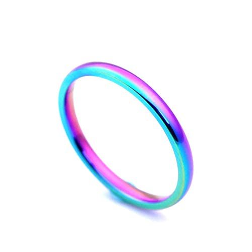 EveyWell Rainbow Ring 316 Stainless Steel 2Mm Cool Exaggerated Personality Ring US Size JR2201,Gold,12
