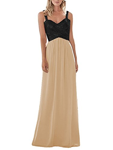 Dressyu Women's Sequined Chiffon Long Prom Bridesmaid Dress Wedding Formal Gown Black-Champagne US14 ()