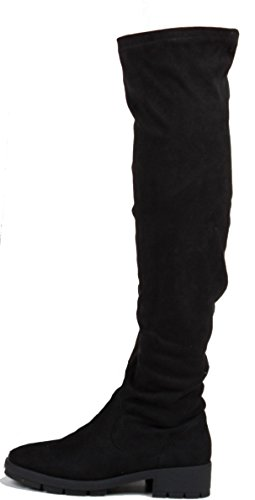 Womens Winter Biker Riding Style Low Flat Heel Calf Leg Knee Boots Size 3-8 Style M - Black Suede 2QVVc