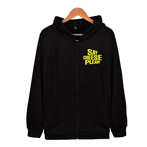 Sxiuyou Say Cheese Please Zip Up Hoodie Long Sleeve Soft Sweatshirt with Side Pocket