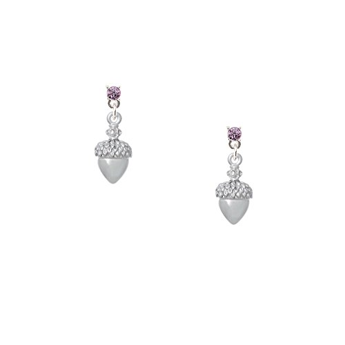 Small Acorn with Crystals - Lavender Crystal Post Earrings