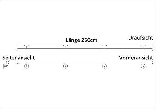 Buche, 220cm Holz-Handlauf Set mit halbrunden Abschl/üssen und Haltern 50-250cm am St/ück