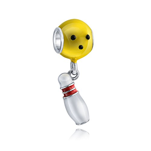 Bowler Bowling Ball Pin Sport Multi Color Dangle Charm Bead For Women For Teen Sterling Silver Fits European -