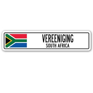VEREENIGING, SOUTH AFRICA Street Sign Sticker Decal Wall Window Door South African flag city country road 8.25 x 2.0