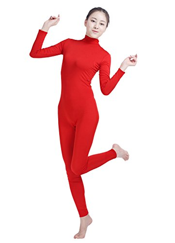Amsicoo Womens One Piece Bodysuit Turtleneck Lycra Spandex Long Sleeve Footless Unitard, Red, Small