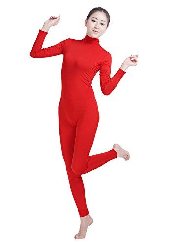 Amsicoo Womens One Piece Bodysuit Turtleneck Lycra Spandex Long Sleeve Footless Unitard, Red, ()