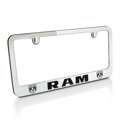 Dodge Ram Dual Logo Chrome Metal License Plate ()