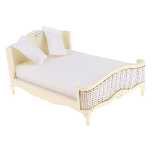 Baoblaze European Style 12th Wooden Double Bed with Mattress Pillow Dollhouse Bedroom Furniture Home Model Display Ornaments ()