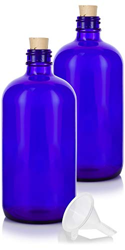 (16 oz Cobalt Blue Glass Boston Round Bottle with Cork Stopper Closure (2 Pack) +)