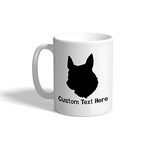 Custom Funny Coffee Mug Coffee Cup Dutch Shepherd Dog Silhouette White Ceramic Tea Cup 11 OZ Personalized Text Here