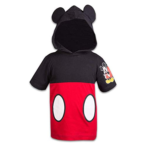 Disney Mickey Mouse Boys Hooded Shirt Mickey Friends Costume Tee (Red/Black, 2T)