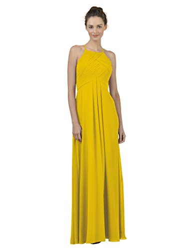 Alicepub Long Chiffon Bridesmaid Dress Maxi Evening Gown A Line Plus Party Dress, Mustard Yellow, US8